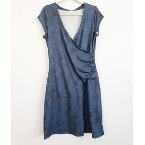 Athleta Nectar Faux Wrap Midi Dress Blue Grey